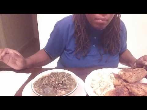 Homemade Fried Chicken, Fresh Collard Greens and Potatoe Salad (Fail Lost Footage)..