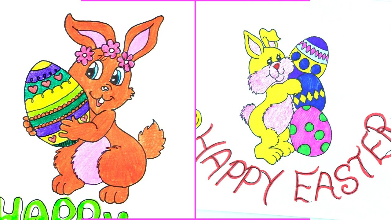 Easter Drawings  How To Draw A Bunny Step By Step