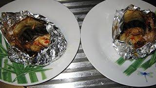 Скумбрия фаршированная  овощами и запеченная в фольге