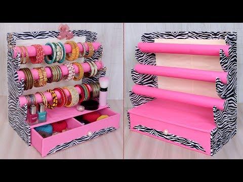 Unique Bangle and Makeup Organizer Craft Idea || DIY Cardboard crafts