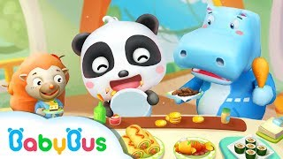 Baby Panda Restaurant 🍝 Baby Learn Vegetables, Fruits & Making Cookies, BBQ, Onion Soup 🍵 | BabyBus