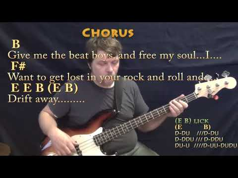 Drift Away (Dobie Gray) Bass Guitar Cover Lesson in B Major with ...