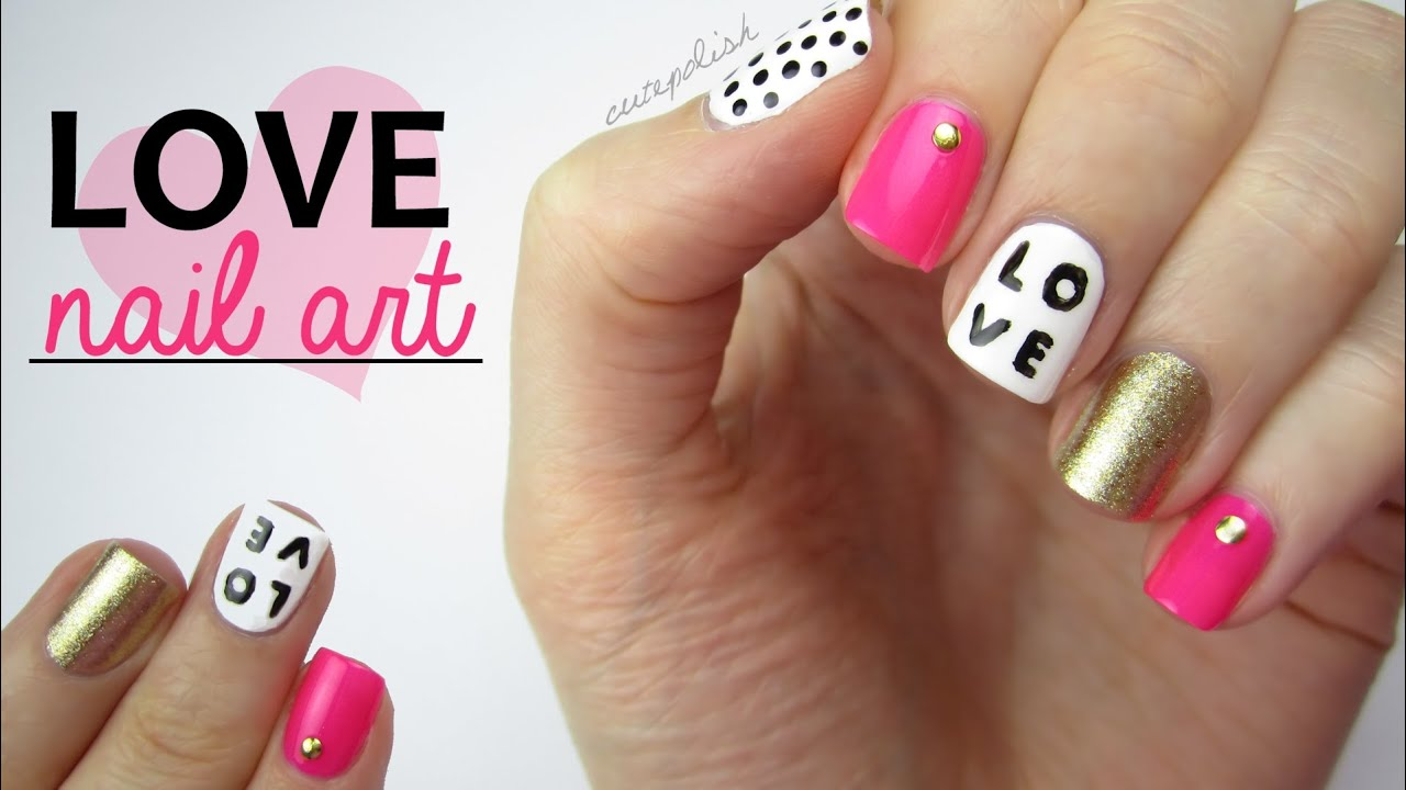 Nail Art For Valentines Day Love Mix Match Design Youtube