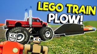 Lego City Train Plow DESTROYS Lego Skyscraper! -  Brick Rigs Gameplay - Lego City Destruction