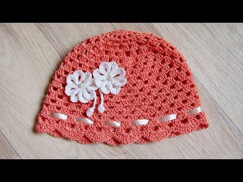 Вязание летних шапок крючком для детей нить ирис видео