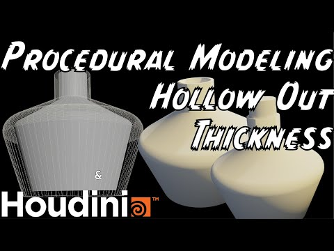 Procedural Modeling for Hollowing Objects with Thickness in Houdini