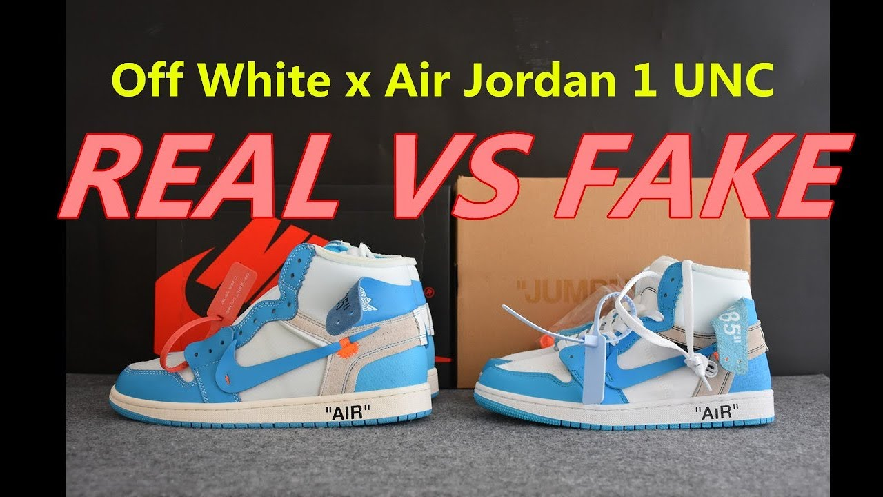 797842a7416d37 REAL VS FAKE Off White x Air Jordan 1 UNC Comparison - YouTube