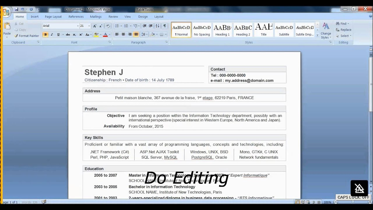 how to make resume in word 2007 youtube