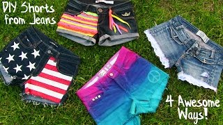 DIY Clothes! 4 DIY Shorts Projects from Jeans! Easy thumbnail