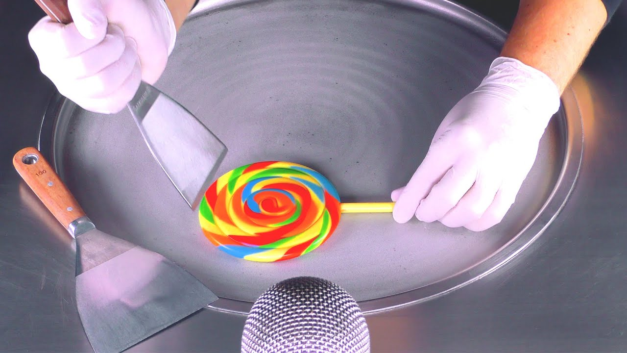 ASMR - Rainbow Lollipop Ice Cream Rolls | oddly satisfying Candy crushing - Food Art with Sweets