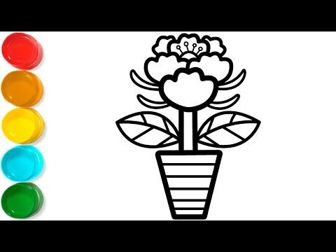 flower-in-pots-coloring-and-drawing-for-kids,-toddlers-|-kids-colors-tv