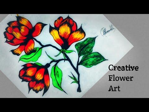 #CreativeArt#FlowerArt#RabyeaArtGallery ||Very Easy Creative Flower Drawing || Flower Art|| 2020