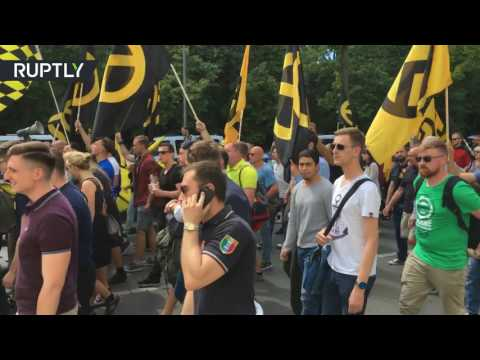 Several detained as anti-migrant protesters face off with detractors in Berlin