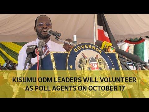 Kisumu ODM leaders will volunteer as poll agents on October 17