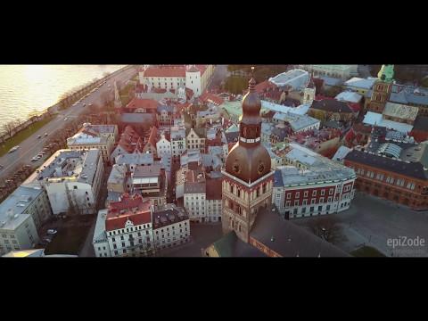 Evening Riga aerial 4K
