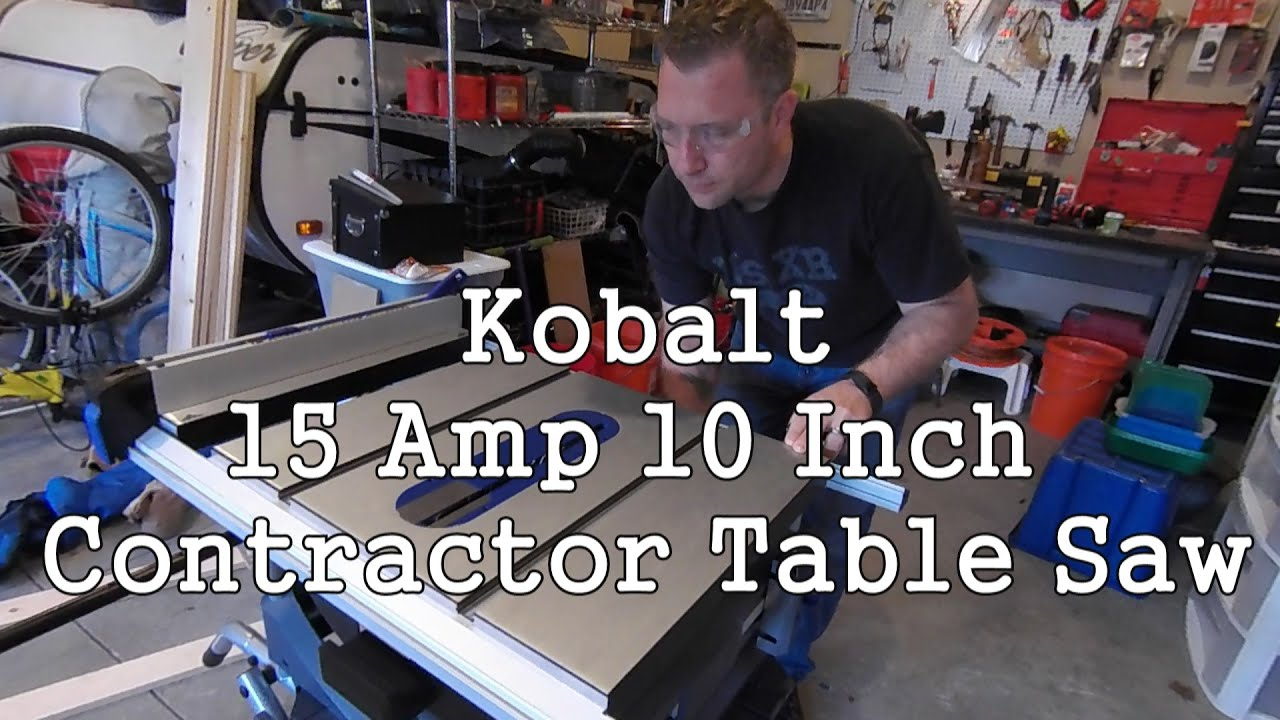 Kobalt contractor table saw youtube for 10 inch table saw lowes