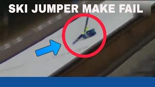 SKI JUMPER FACE PLANTS ON JUMP PLATFORM