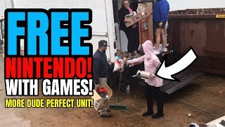 ILLEGAL DUMPING! Guy Caught Dumping VINTAGE VIDEO GAMES??? More DUDE PERFECT UNIT!