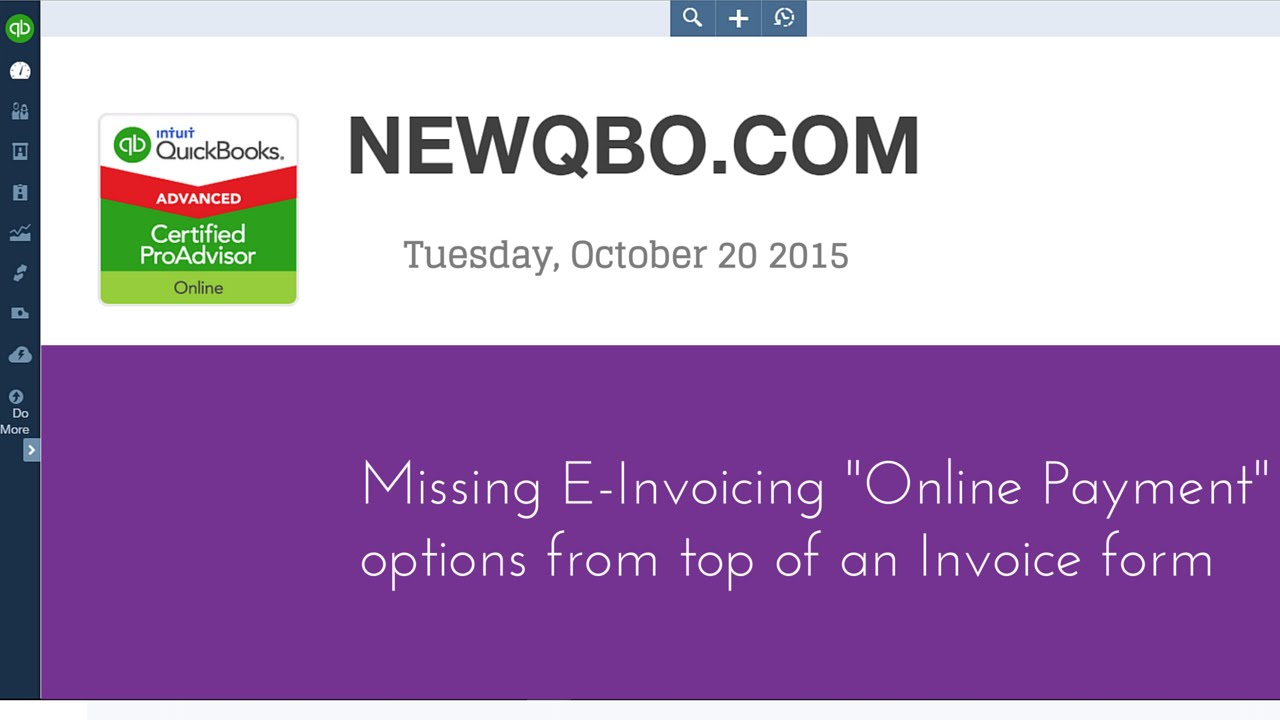 QuickBooks Online Missing EInvoicing Online Payment Options - Quickbooks e invoicing