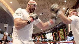 TYSON FURY LOOKING LIKE A BEAST ON THE MITTS FOR OTTO WALLIN FIGHT - SPEED LIKE A MIDDLEWEIGHT!