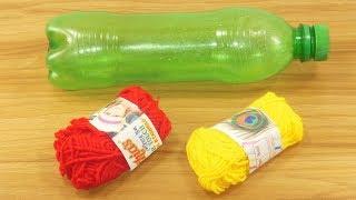 Plastic Bottle craft idea with color woolen   Unique ShowPiece   Best Out of Waste Plastic Bottle