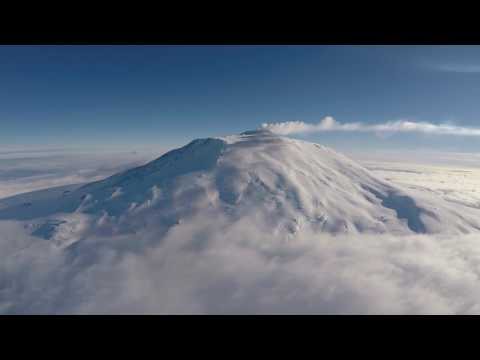 Helicopter flight from Scott Base to Mt Erebus and back, Ross Island, Antarctica