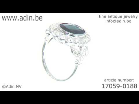 French Art Deco Belle Epoque engagement ring diamonds sapphire. (Adin reference: 17059-0188)