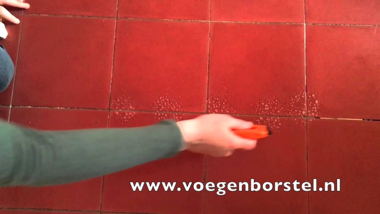 Vloer voegen schoonmaken voegenborstel huiskamer, badkamer, toilet ...