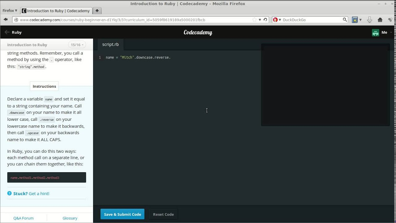 Codecademy introduction to ruby 15 16 strings and string methods