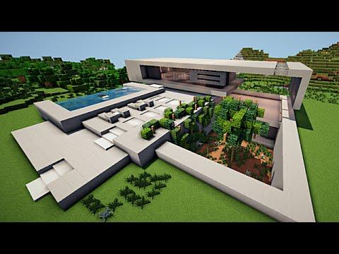 Minecraft maison moderne minimaliste   YouTube