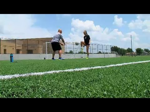 Parker Goins of Union High School gives soccer lesson in 2 for the Gold