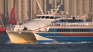 [船] HAI YANG 海洋 High speed ship Departing Hong Kong 香港出港 2013-DEC