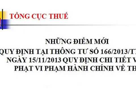 Thông tư xử phạt vi phạm hành chính về thuế – TT 166/2013/TT-BTC