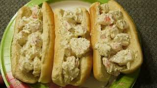 eat Imitation Crab Meat in Hotdog Bun