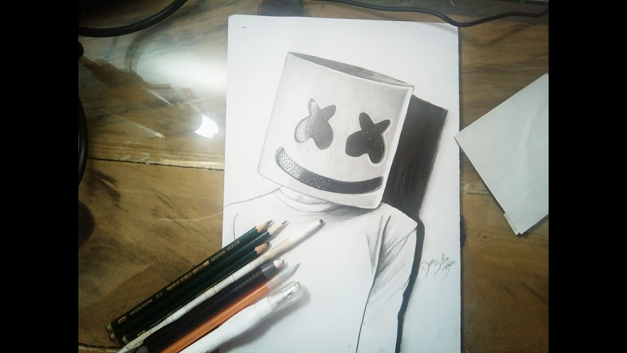desenhando Marshmello drawing Marshmello - YouTube