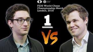 Ceonato del Mundo de Ajedrez 2018 Caruana vs Carlsen partida 1