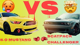 (KILLA BEE) TWIN TURBO 5.0 VS SCATPACK CHALLENGER !!! (MISSED 4TH)