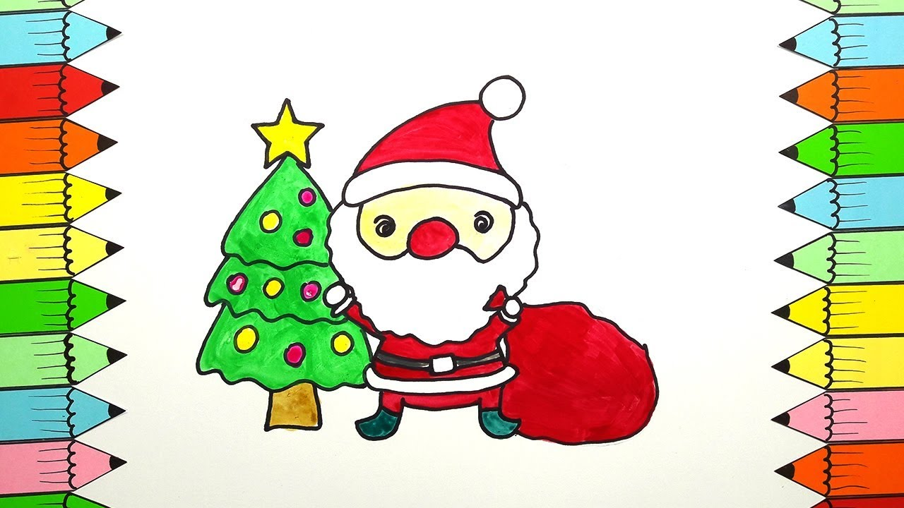 drawing videos for kids how to draw merry christmas santa coloring for kids