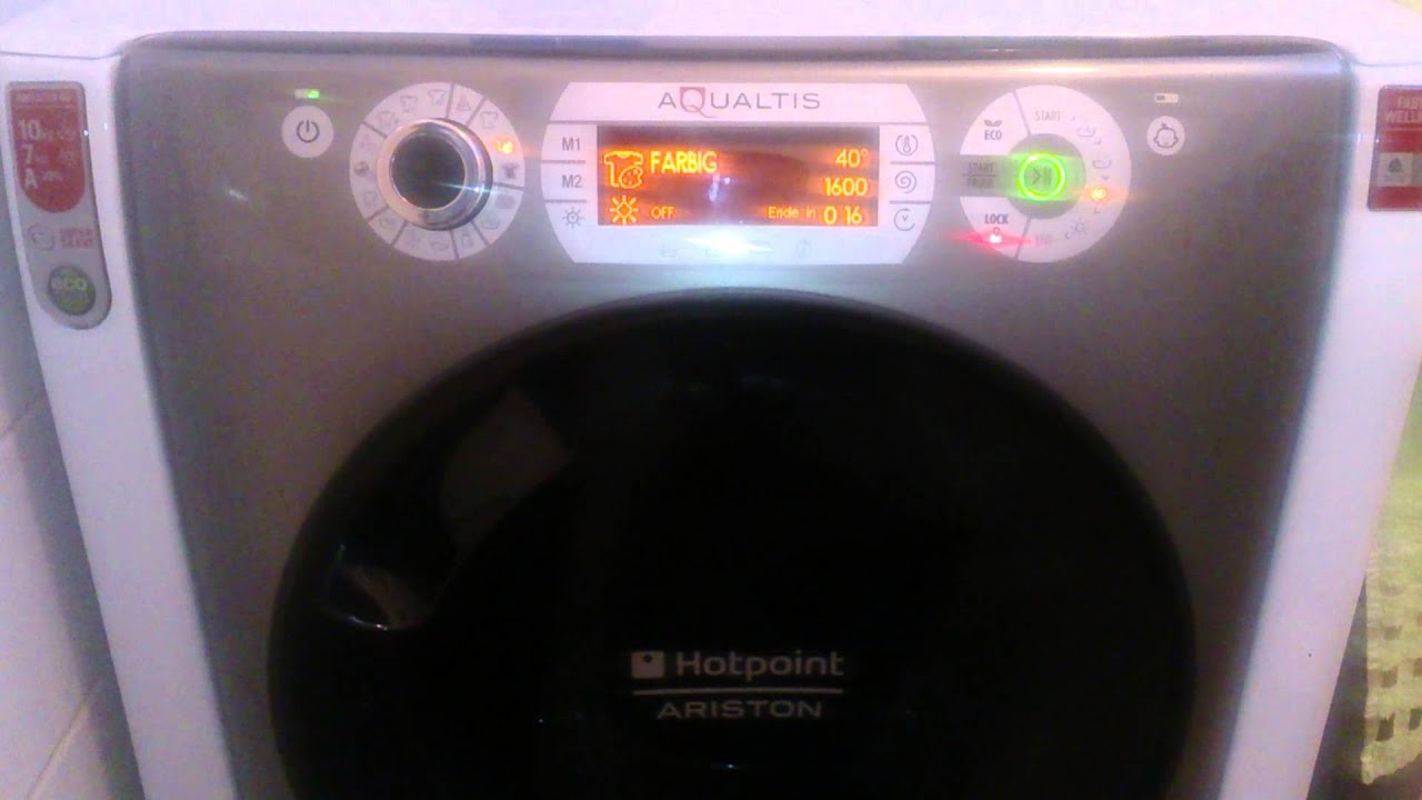 Hotpoint waschtrockner aqd d eu a aqualtis youtube