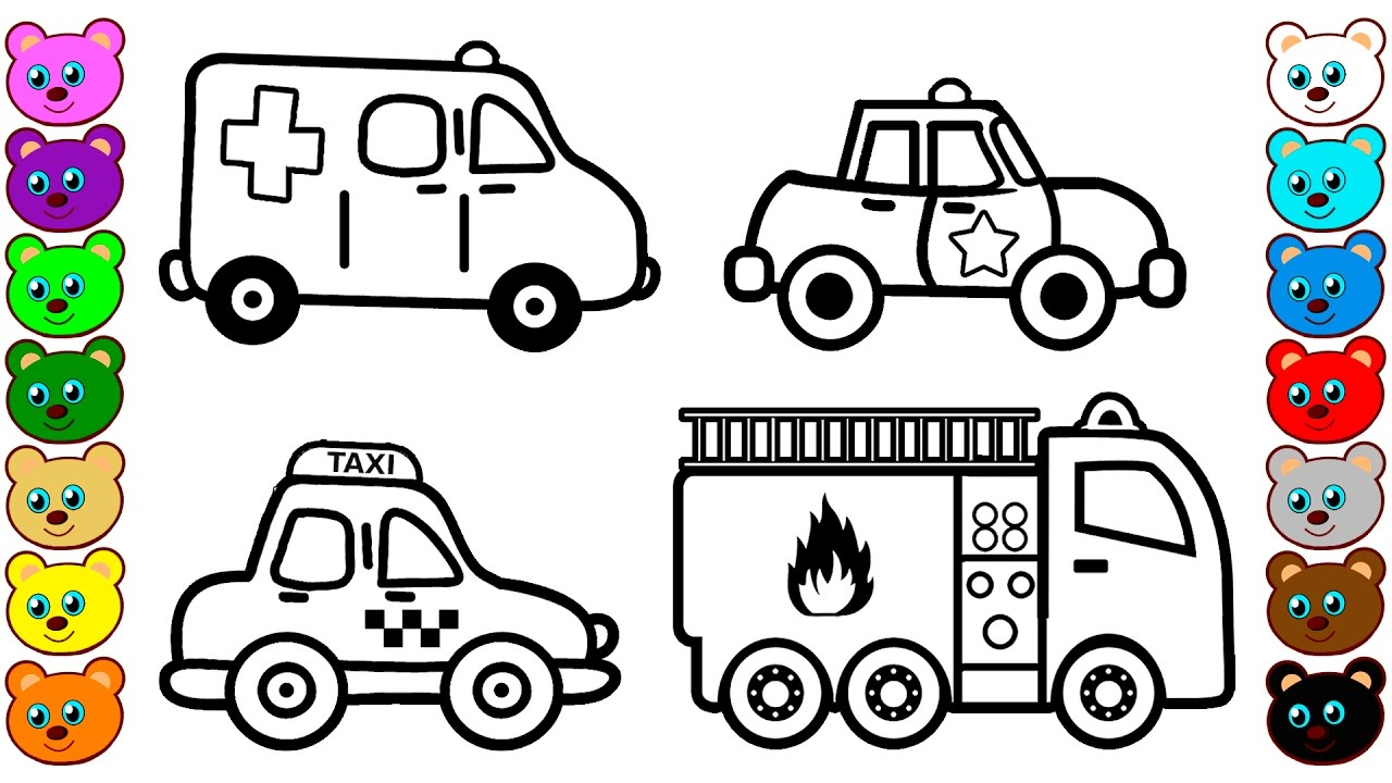Learn Colors for Kids with City Vehicles Cars Coloring Pages YouTube