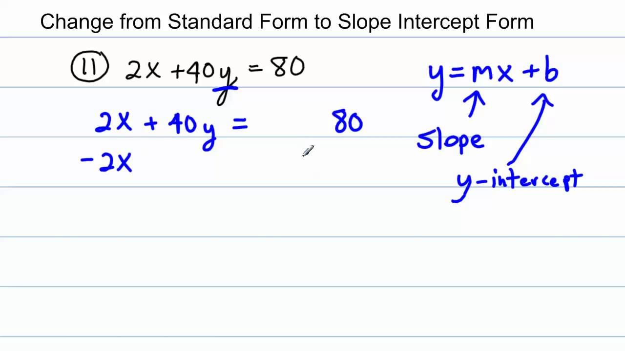 slope intercept form questions  Algebra - Change from Standard Form to Slope Intercept Form (13 worked  problems)