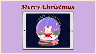 아이패드 8세대   프로크리에이트   크리스마스 워터볼…
