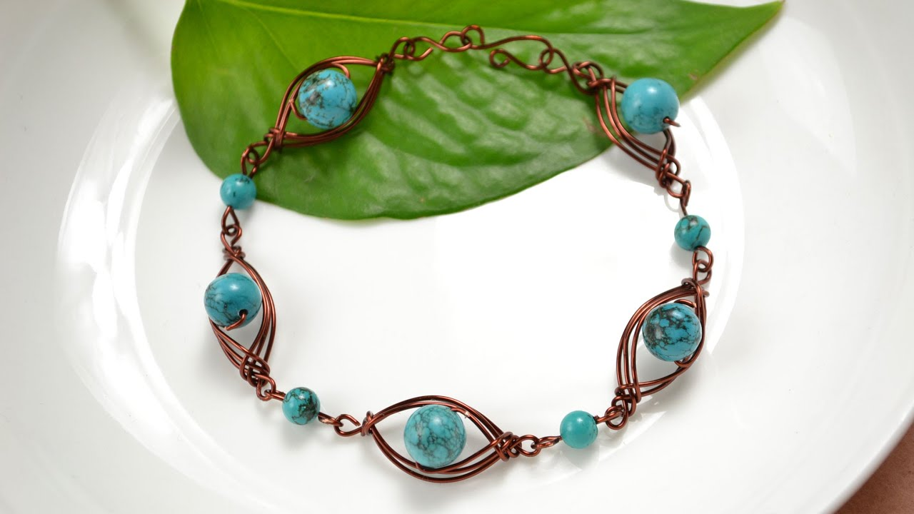 How to Make Wire Wrapped Bracelets with Turquoise Stones - YouTube
