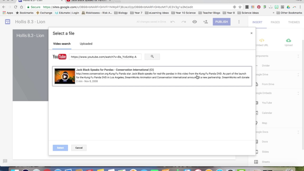 Google themes panda - Year 8 Science Embed Youtube Into Google Site