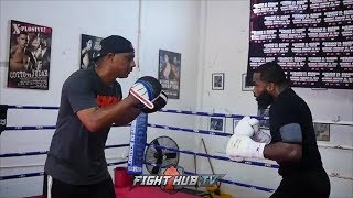 ADRIEN BRONER RIPPING COMBINATIONS ON THE MITTS - LOOKS SERIOUS & MOTIVATED FOR JESSIE VARGAS