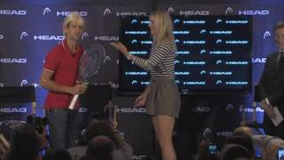 Djokovic dresses as Sharapova at press conference