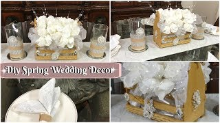 DIY DOLLAR TREE GLAM SPRING WEDDING OR BRIDAL DECOR | DIY BLING WEDDING CENTERPIECE IDEAS