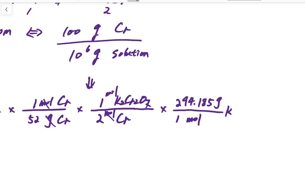 How to convert ppm of Cr to g of K2Cr2O7 per L solution - Analytical Chemistry - YouTube