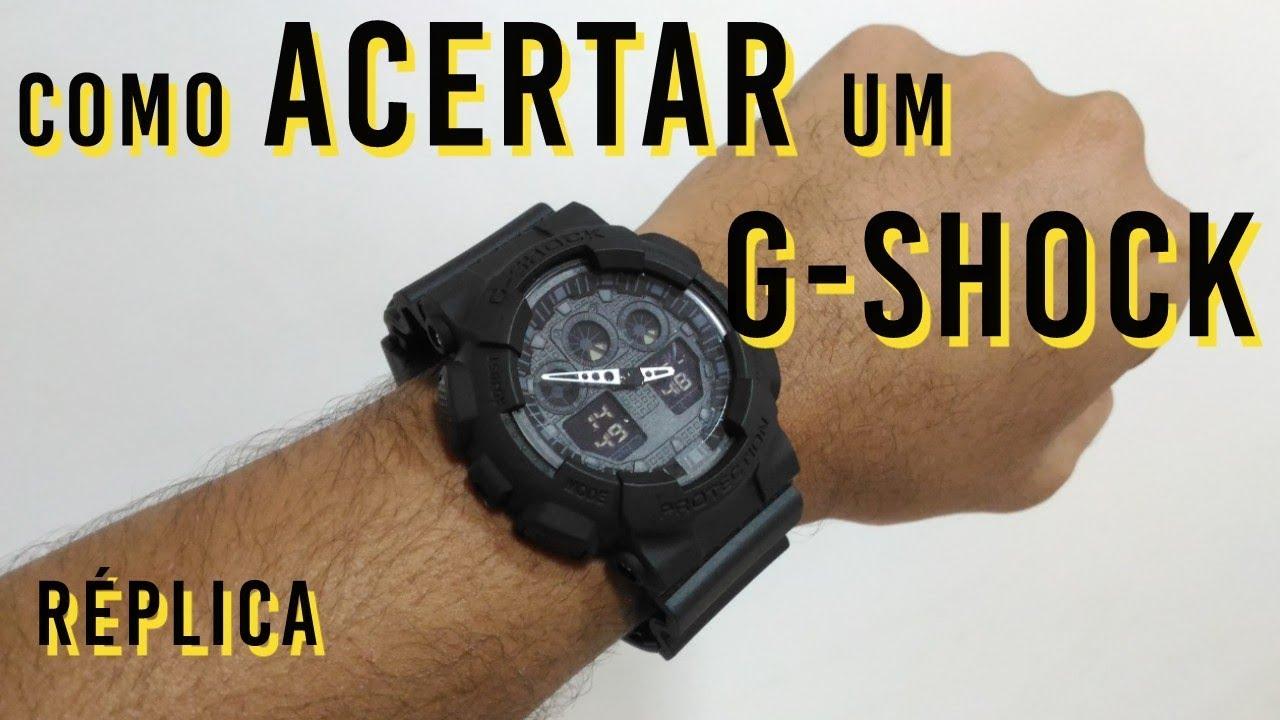 aca20869060 Como Acertar Horas de um G Shock Réplica GA-100 110 - YouTube