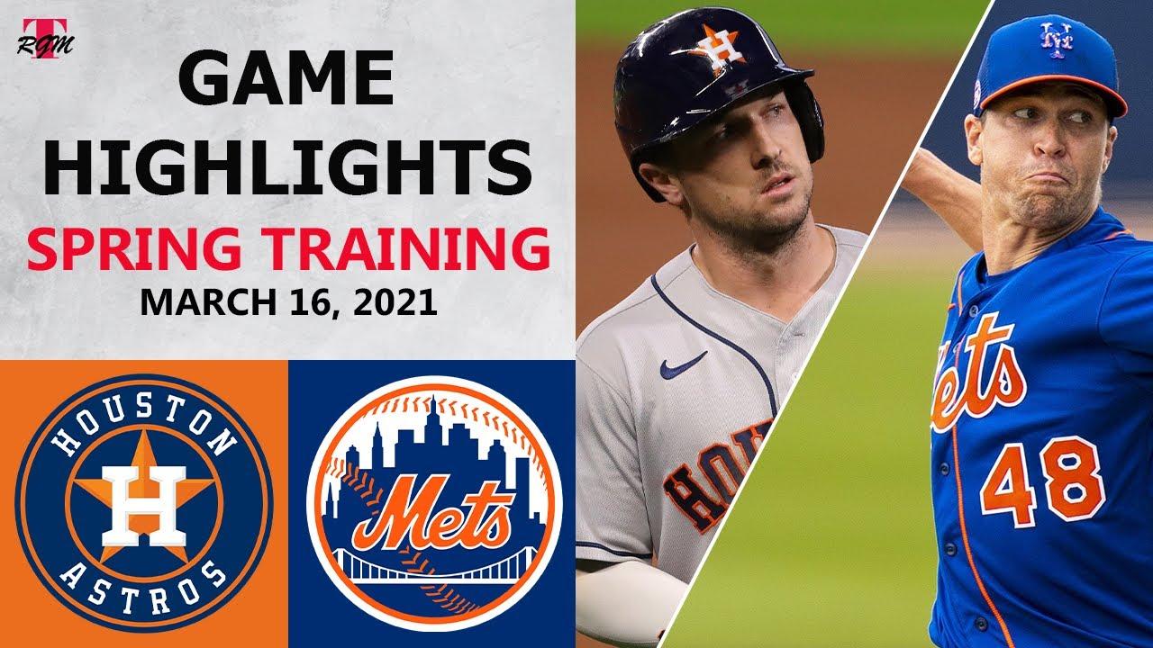 Houston Astros vs. New York Mets Highlights   March 16, 2021 (Spring Training)
